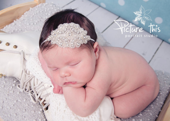 SIMPLY -Vintage Rhinestone Headband Baby girl crystal Headband glisten Headband baby hair accessories photo props