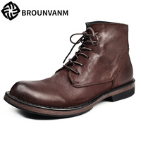 2017 men Martin Brown and black men's boots autumn winter casual British leather retro high shoes