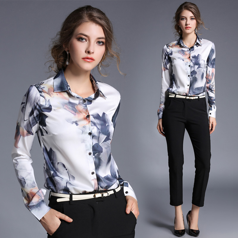 New Arrival 2018 Female Slim Body Printed All-match Blouse Fashion Long Sleeve Blouse Office Lady Blouse 706F 30