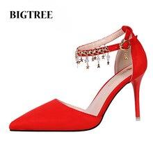 Летние Элегантные Свадебные Свадебная Обувь Металлической Цепью Украшенные Тонкие Каблуки Одно Слово Пряжки Женская Обувь Женщины Насосы