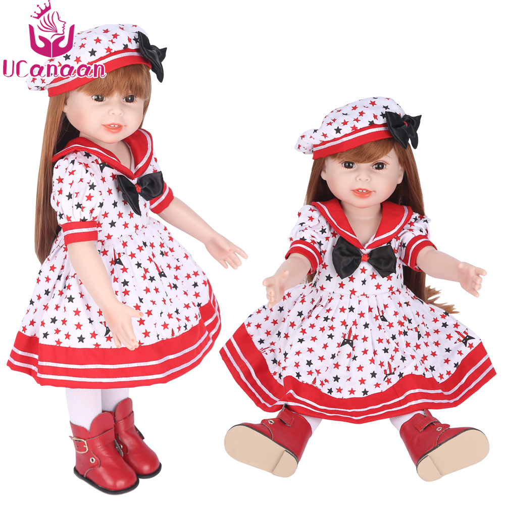 UCanaan American 18'' 45CM Sweet Girl Doll with Dress and Hat Long Hair Handmade Full Vinyl Silicone Reborn Baby Doll Toys Girls [mmmaww] christmas costume clothes for 18 45cm american girl doll santa sets with hat for alexander doll baby girl gift toy