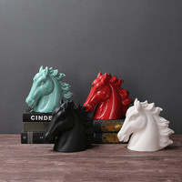 Nordic country Ceramic Horse Head Model contracted craft gift hotel villa coffee shop living room porch Home Decoration