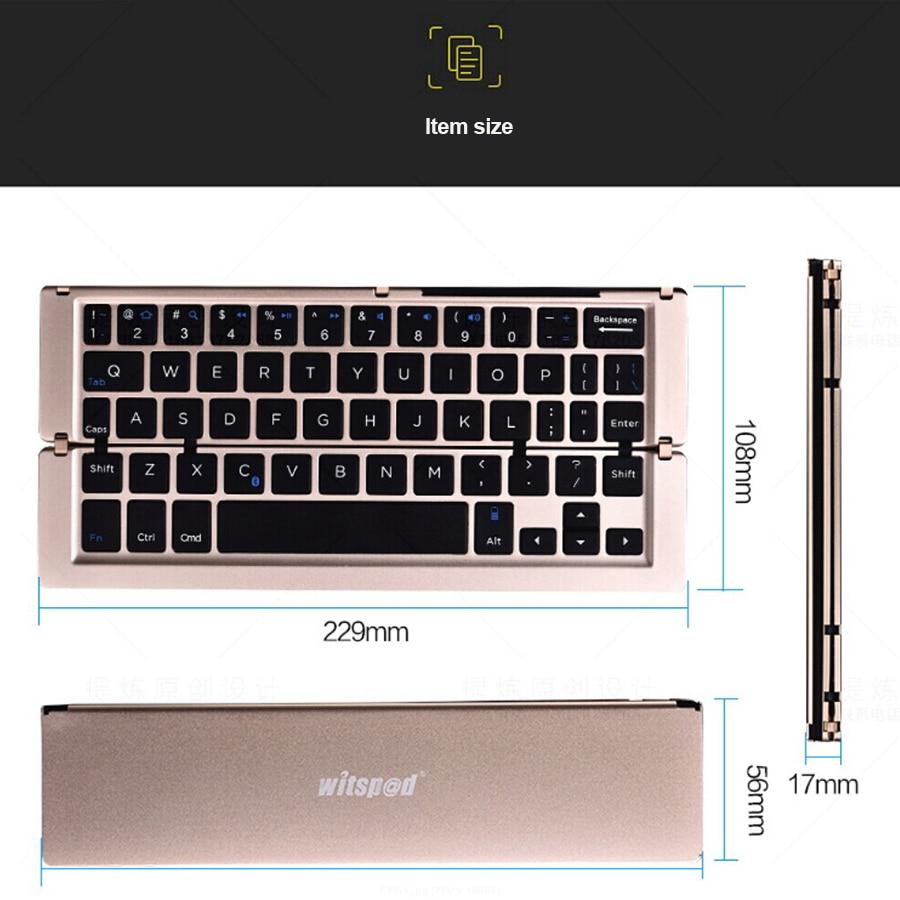 witsp @ d Universal Metal Qatlanan Bluetooth Klaviatura, Android IOS - Planşet aksesuarları - Fotoqrafiya 2