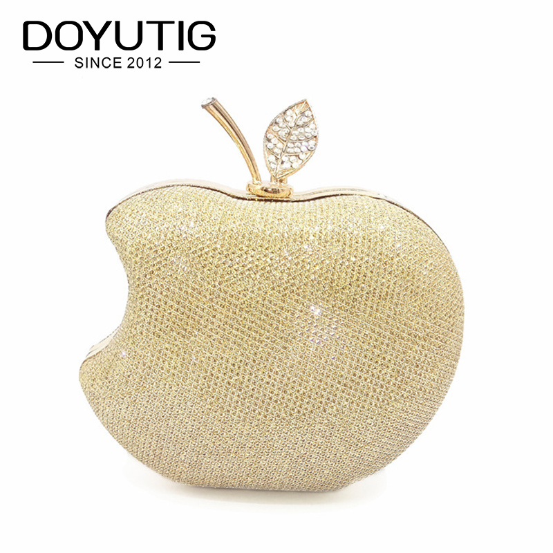 DOYUTIG Women's Crystal Apple Shape Evening Bag Female Luxury Clutch Bags Wedding Diamond Beaded Bag Rhinestone Party Bags A176