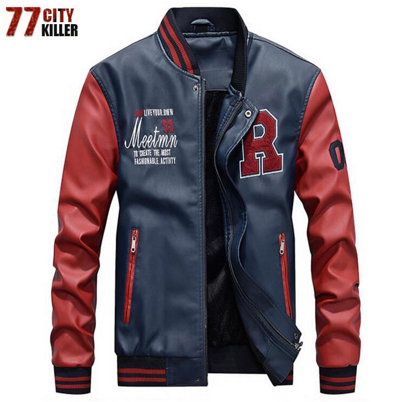 New 2019 Brand Embroidery Baseball Jackets Men Pu Faux Leather Jacket Male Casual Luxury Fleece Pilot Innrech Market.com