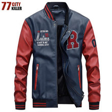 New 2019 Brand Embroidery Baseball Jackets Men Pu Faux Leather Jacket Male Casual Luxury Fleece Pilot Letter Stand Bomber Coat(China)