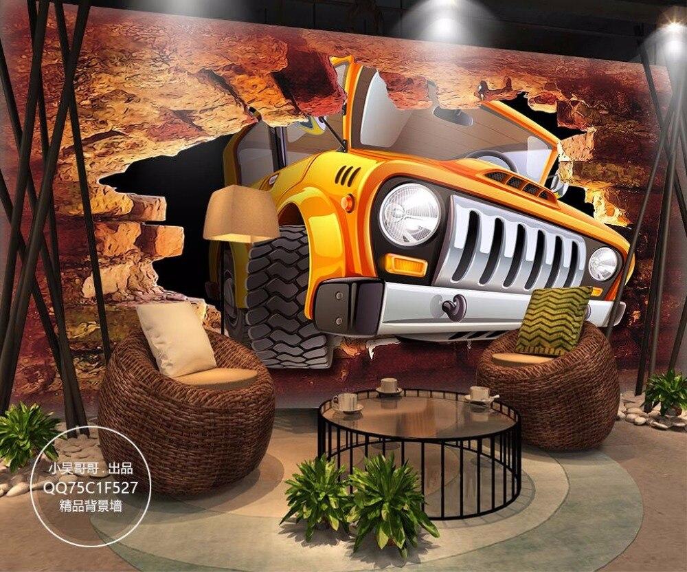 Custom 3D Mural Wallpaper Break the wall Cartoon car Wallpaper 3D Stereoscopic Restaurant Bar KTV Decorative paintings
