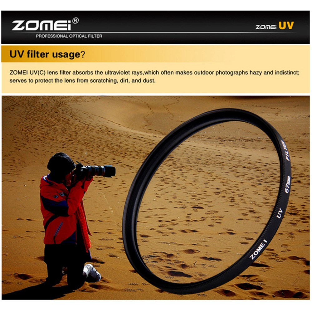 ZOMEI 40.5/49/52/55/58/62/67/72/77/82/86mm Ultra-Violet UV Filter Lens Protector for SLR DSLR camera