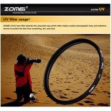 Zomei 40.5/49/52/55/58/62/67/72/77/82/86mm filtro uv ultra violeta protetor de lente para câmera slr dslr