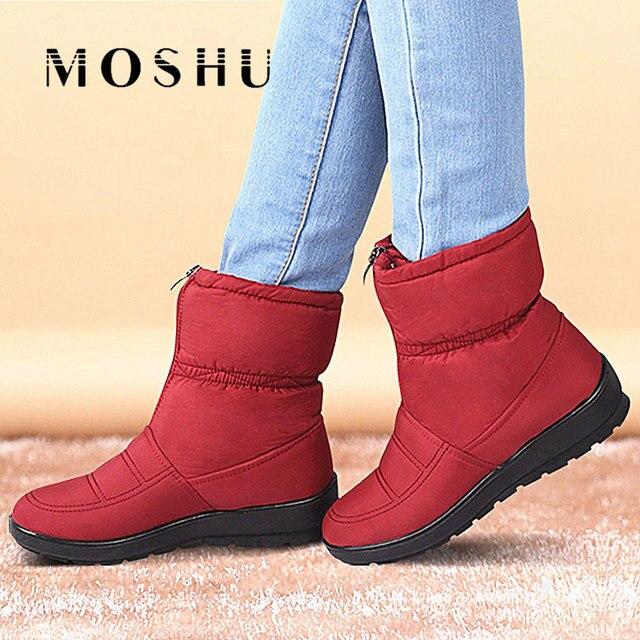 adbaed5d6d289 Invierno Botas mujeres hembra impermeable Botas abajo Botas para la nieve  caliente zapatos de Mujer cremallera