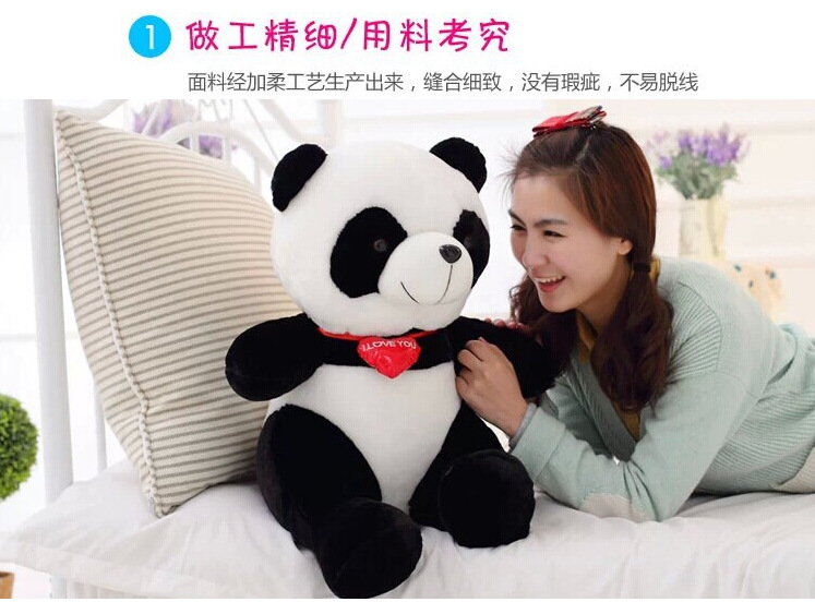 middle plush panda toy new lovely red heart panda doll gift about 40cm 0366 huge lovely panda toy big plush panda with stripe clothes birthday gift about 90cm