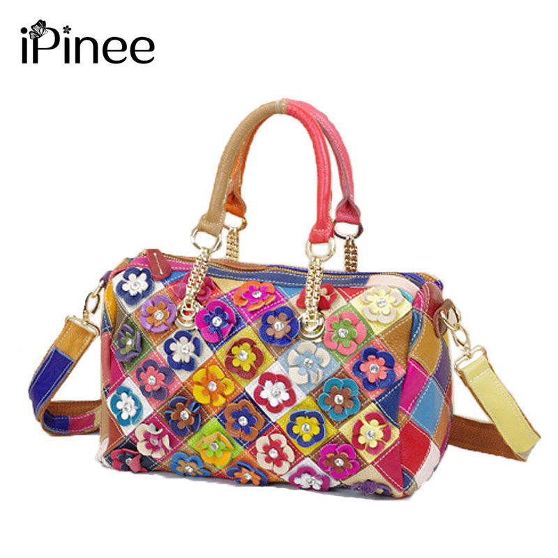 iPinee New 100% Genuine Leather Handbags Women Fashion Patchwork Flowers Bags Shoulder Bag Tote Colorful genuine leather women s shoulder bag fashion patchwork plaid women cross body bags colorful tote lady messenger bag