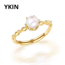 YKIN Pearl Jewelry Plated 18K Yellow Gold Natural Round Freshwater Pearl Ring Women's Wedding Ring Premium Gifts