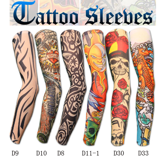 50 Pcs / Lot New 200 Kinds Of Styles Nylon Stretchy Fake Tattoo Anti-UV Sports Arm Sleeves Warmer Manguito Stockings