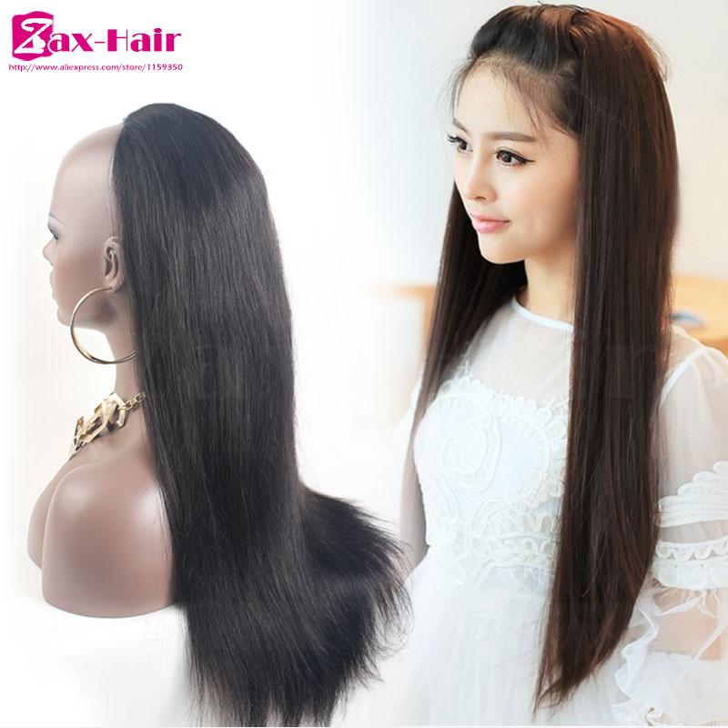 Cheap Human Hair Half Wigs Customized Clip 3 4 Half Wig For Black ... d3b046489