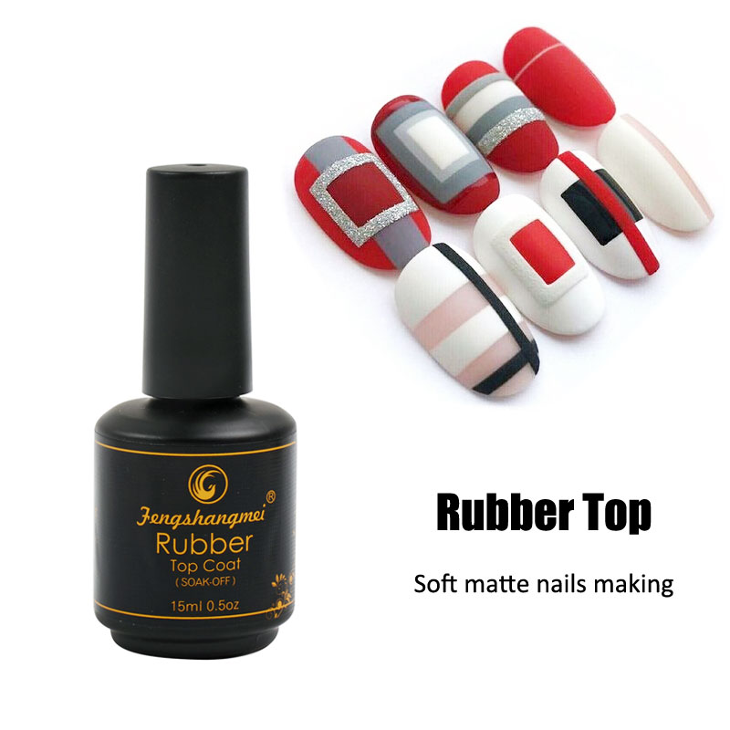 Fengshangmei 15ml Matte Rubber Top Coat Gel Polsk Seal UV Neon Art Design Matte Gel Vanishes Populær Gel Lak Lakk Matte
