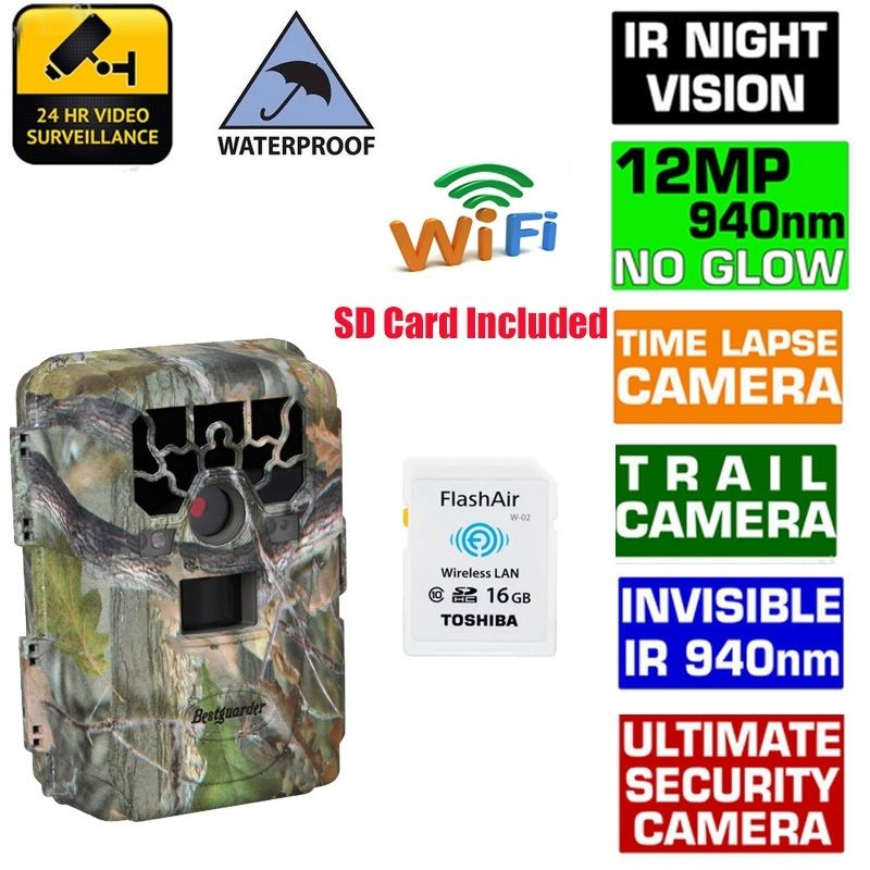 Free 16GB Wifi SD Card Blueskysea SG 880V 1080P No Glow 12MP 940NM Night Vision Infrared