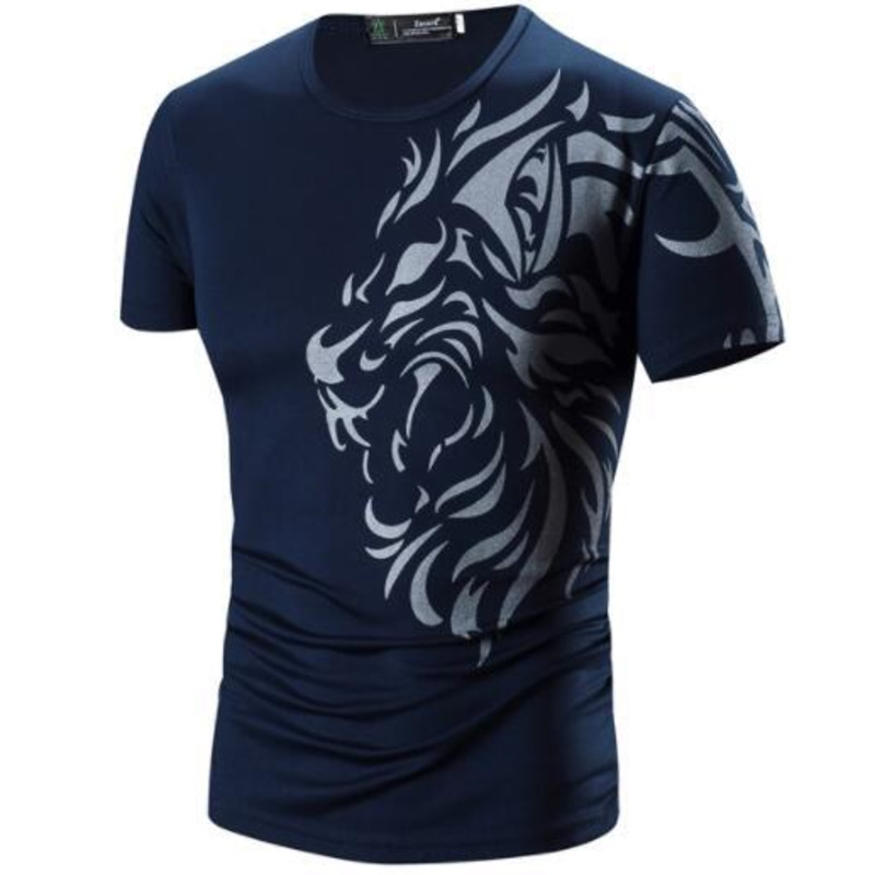Summer Men New fashion tshirts dragon printing speed drying Men Casual short sleeved  mens clothing t shirt 3colour