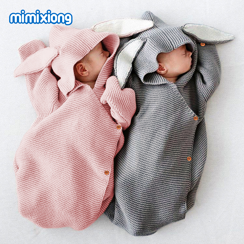 Baby Sleeping Bags For Stroller Winter Warm Toddler Infant Swaddle Wrap Autumn Rabbit Knitted Envelopes For Newborn Kids 75*35cm