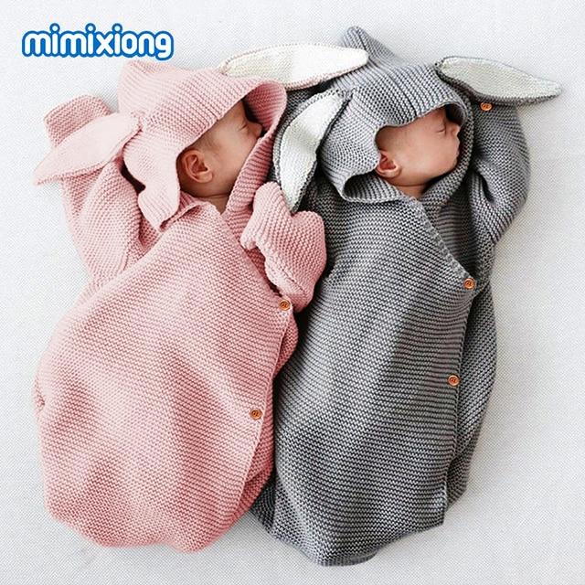 Очаровательны кролик Детские коляски спальный мешок Демисезонный Новорожденного Вязаная пеленать Обёрточная бумага гнездо конверты для малыша От 0 до 1 года