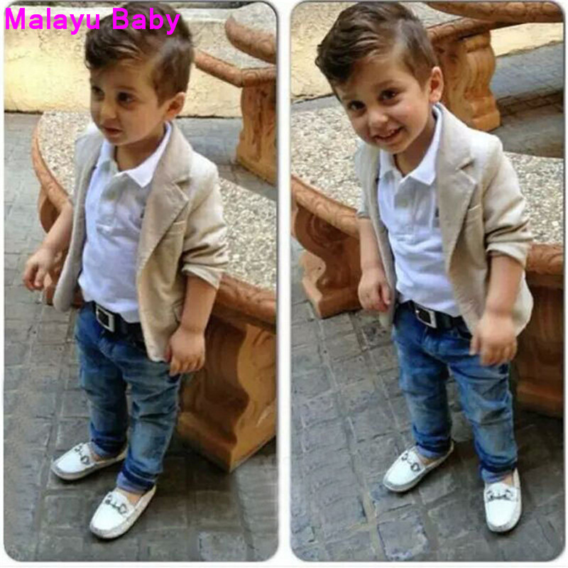 Malayu Baby 2016 Boys gentleman suits t-shirt + Pants 2pcs / 3pcs Scarf bow shirt jeans jacket leisure set baby Children Kids 2016 leisure baby boys clothes set gentleman handsome formal wear wedding vest white t shirt tie pants party suits free shipping
