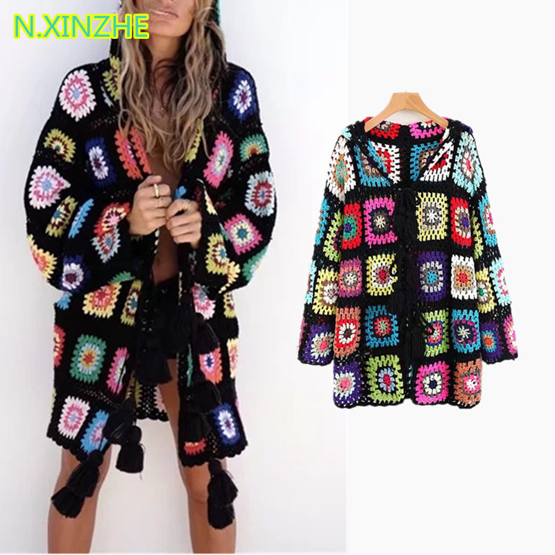 2018 women clothing long sleeve hooded multicolor floral relaxed hand knitted sweaters Female bohemian loose long