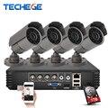 Techege 4ch 720 p ahd dvr sistema 1280*720 1200tvl cctv kits de câmera de vigilância night vision ir à prova d' água para casa de segurança