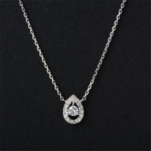 Halo Pear Shape 0.18ctw Natural Diamond Pendant 18k White Gold Water Drop Halo Accents Pendant Gold Chain Necklace