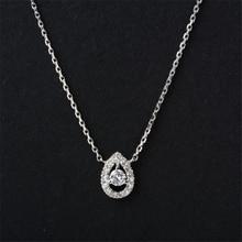 LASAMERO Halo Pear Shape 0 18ctw Natural Diamond Pendant 18k White Gold Water Drop Halo Accents