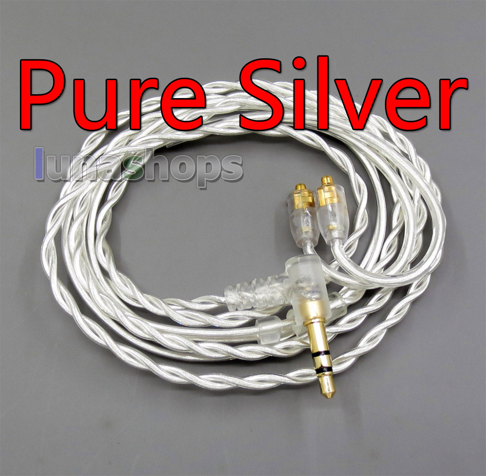 Pure Silver Shielding Earphone Cable For MMCX Plug Shure se535 se846 se215 Earphone cable LN005933 areyourshop 5pair earphone pin plug for shure ed5 se535 carbon fiber mmcx rhodium plated silver