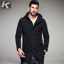 KUEGOU 2017 Frühling Mens Beiläufige Graben Schwarz Kapuzen Lange Mäntel Marke Kleidung Man Slim Mantel Mann Windjacke Plus Größe 8132