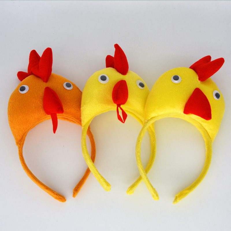 2018 Animal Yellow Red 3D Cock Chicken Headband Children Adults Headwear Kids Boys Girls Party Cosplay Hair Decoration