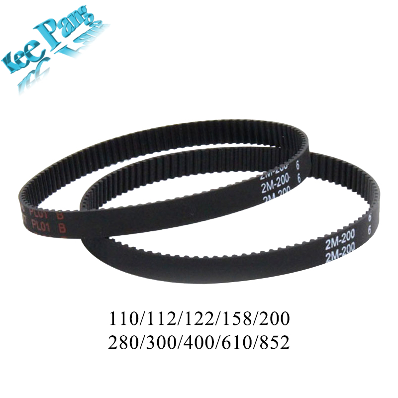 10pcs 2GT Closed Loop Timing Belts GT2 6mm Rubber Synchronous Parts 110 112 122 158 200