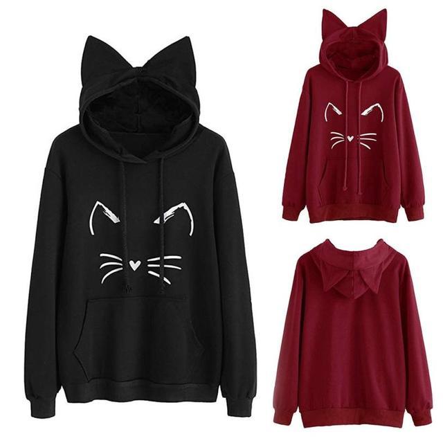 Feitong Cute Womens Sweatshirts Hoodie Crop Tops Solid Cat Ear Long Sleeve Sweatshirt  Hooded Pullover Tops Blouse 37fd81e60a