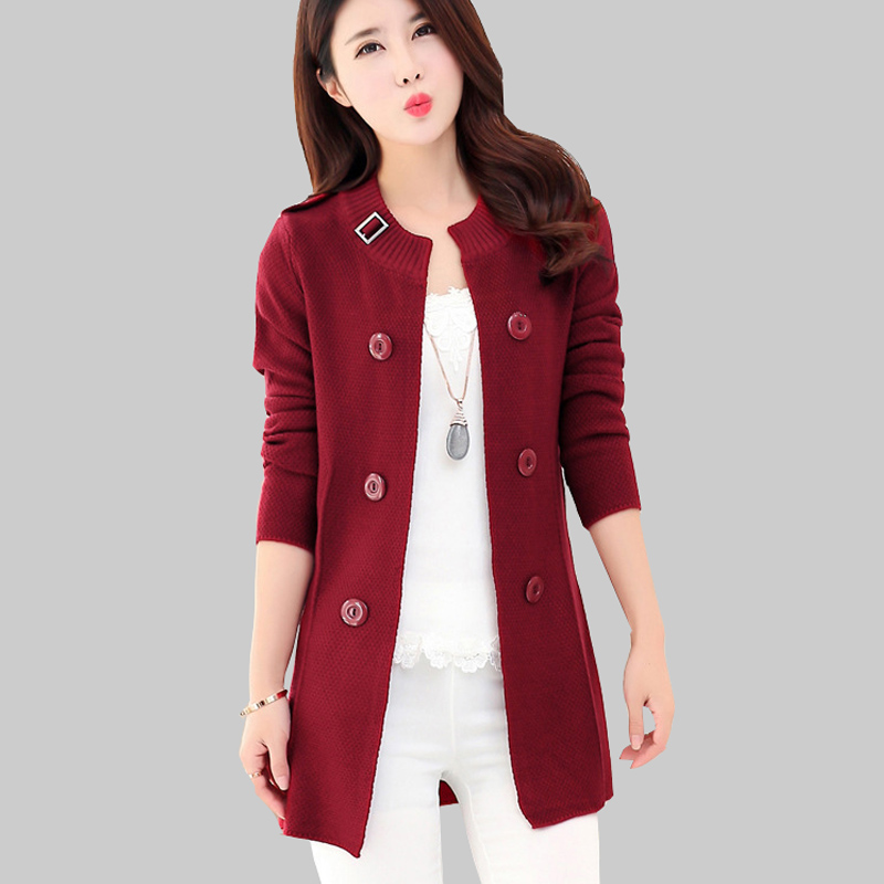 Spring New Knit Cardigan Women Solid Loose Sweater Coat Long Sleeve Round Neck Coats Fashion Double Breasted Cardigans JA646