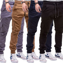 Fashion Men Twill Jogger Pants Urban Hip Hop Casual Trousers Slim Elastic Drop Crotch Pants