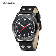 ANANKE Men Waterproof Quartz Watches Casual Dress Date Fashion Analog Wristwatches with Numbers Numeral Dial  Relogios Masculino