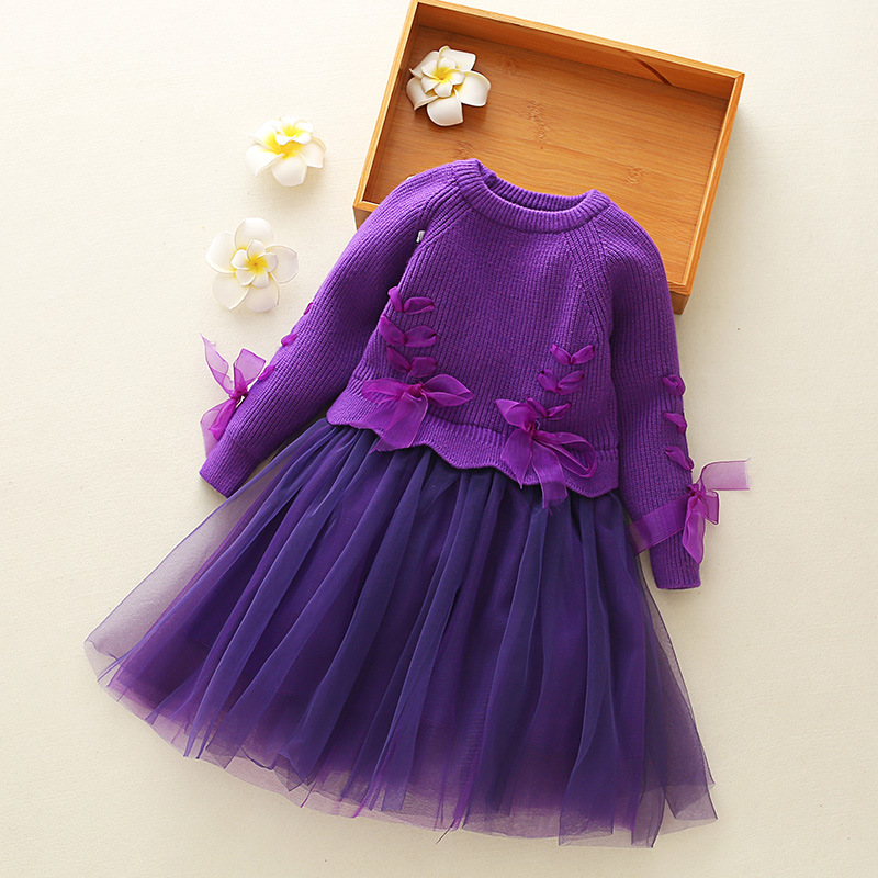 2-10 Years Girls Clothes 2018 Spring Autum New Long Sleeved Lace Dress Girl Bow Purple Children Princess Party Dresses new high quality fashion excellent girl party dress with big lace bow color purple princess dresses for wedding and birthday