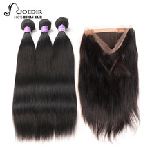 Joedir Peruanische Haarbündel Mit Verschluss 3 Bundles Mit Verschluss Gerade Haar 360 Spitze Frontal Mit Bundle 100% Menschenhaar
