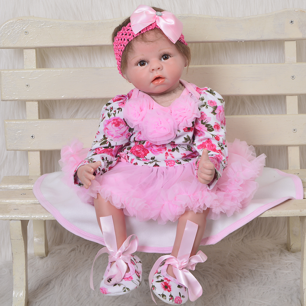 22'' Rose Princess Silicone Reborn Babies Real Like Angle For Girl Toys Lifelike Alive Reborn Baby Dolls 55 cm Kids Playmates 55 cm silicone reborn baby dolls 22 boneca reborn realista asleep fashion dolls for princess kids playmates gifts bebes reborn