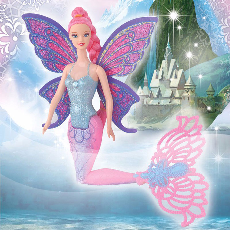 2019 Fashion 40CM Swimming Mermaid Dolls Classic Ariel Anna Elsa Mermaid Doll Toy With Butterfly Wing Girl's Birthday Xmas Gifts