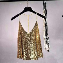 2019 Sexy Club Metal Chains Sequins Loose Camis Women Beading Tank Gold Metallic Shiny Straps V-Neck Backless Crop Top pearl beading foldover bardot crop top