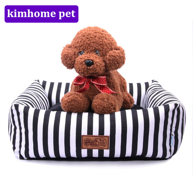 Soft Sofa Dog Bed Synthetic Leather Singapore Fashion Dogs Canvas Striped Pets Cats House Bite Resistance Warming Kennel