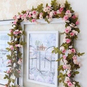 Image 2 - 230 cm/91in משי רוז חתונת קישוטי קיסוס גפן פרחים מלאכותיים קשת דקור עם ירוק עלים תליית קיר זר a0332