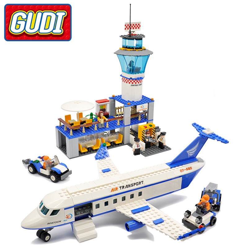 GUDI Air Plane City International Airport Blocks 652pcs Bricks Building Block Sets Classic Educational Toys For Children gudi block city large passenger plane airplane block assembly compatible all brand building blocks educational toys for children