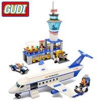GUDI Air Plane City International Airport Blocks 652pcs Bricks Building Block Sets Classic Educational Toys For Children