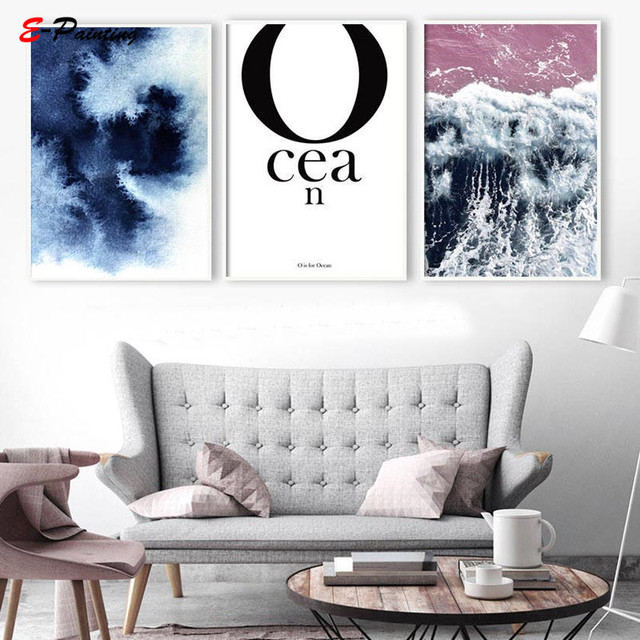 Modern Wall Painting Typographic Prints Large Poster Ocean Nordic Printable Canvas Art Letter Minimalist Art Apartment Decor