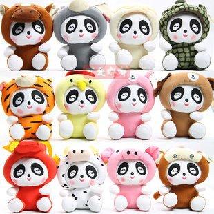 Livraison gratuite 12 signe du zodiaque panda en peluche jouets 12 pcs/set 4 jogos/lote