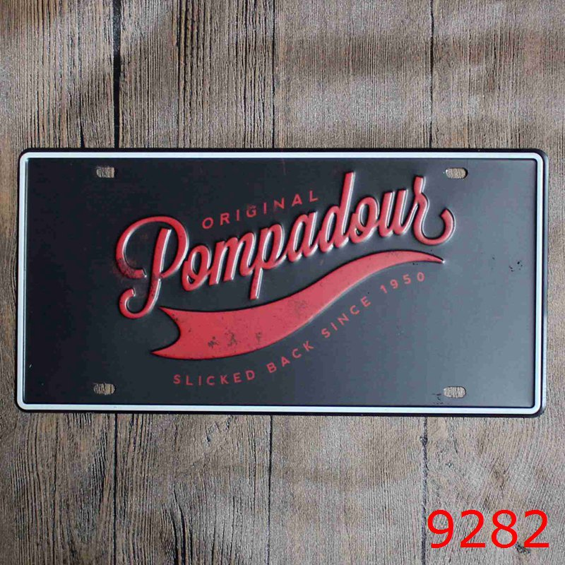 LOSICOE Vintage license plate POMPADOUR Metal signs home decor Office Restaurant Bar Metal Painting art 15x30 CM