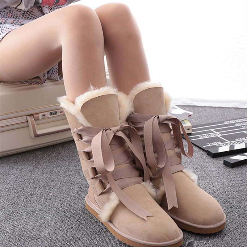 2017 Australian Classic Women Women Snow Boots Genuine Leather Natural Fur Snow Boots Warm Wool Winter Boots Waterproof Boots